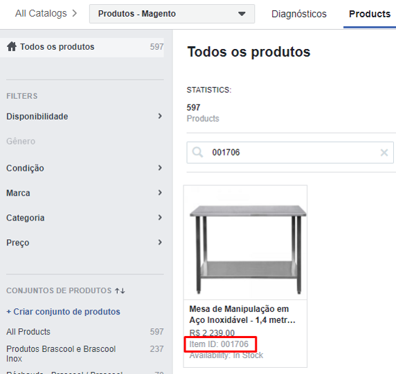 Catálogo de Produtos Facebook