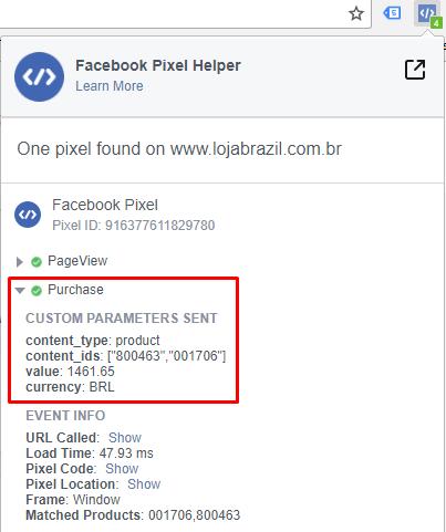 Pixel Helper - Evento de Finalização de Compra