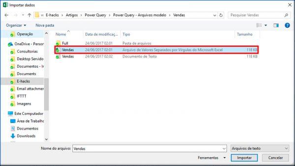"""Localize o diretório em que estão os arquivos de exemplo e selecione """"Vendas.csv"""""""