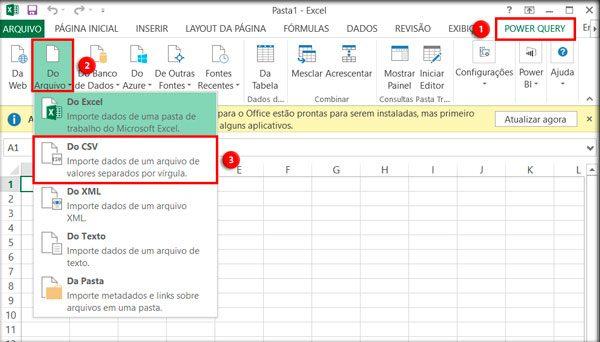 """EXCEL 2013/2010: Acesse a aba """"POWER QUERY"""", no grupo de opções """"Obter e transformar"""" clique em """"Do Arquivo"""" e em seguida em """"Do CSV""""."""