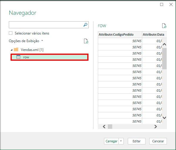 """Selecione o elemento """"row"""" do XML e irá abrir a visualização do conteúdo do arquivo. O Power Query irá converter o formato do arquivo para o padrão do Excel, com os campos separados por colunas."""