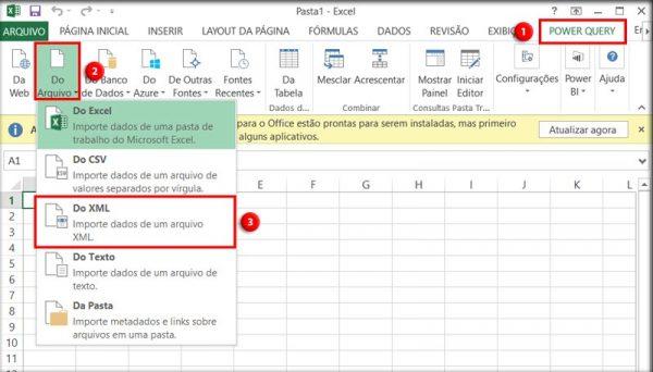 """No Excel 2010 ou 2013, acesse a aba """"Power Query"""", clique em """"Do arquivo"""" e vá em """"Do XML""""."""