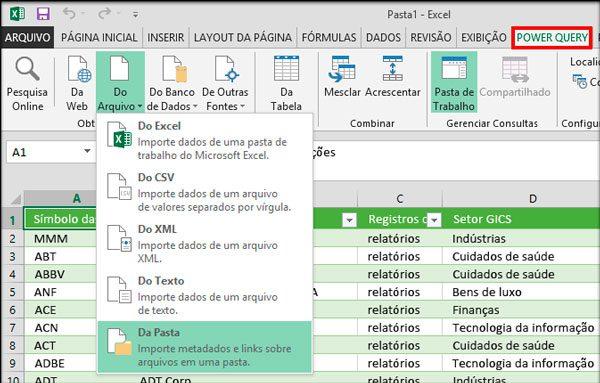 """Após a instalação no Excel 2010 e 2013 é habilitada uma aba denominada """"Power Query"""""""