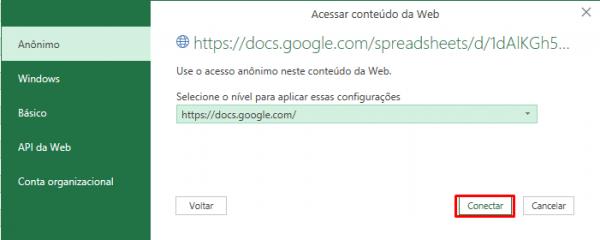Conectar: CSV Google