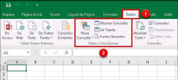 Opção de importação de dados pelo Power Query (Obter e Transformar) nas primeiras versões do Excel 2016