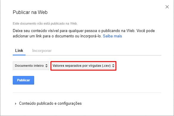Google Planilhas: Exportar CSV