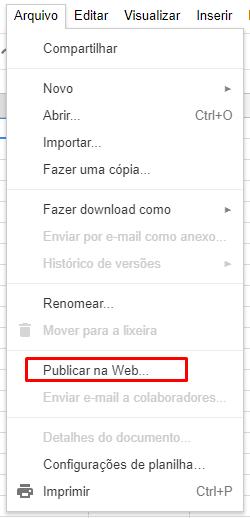 Google Planilhas: Publicar na Web