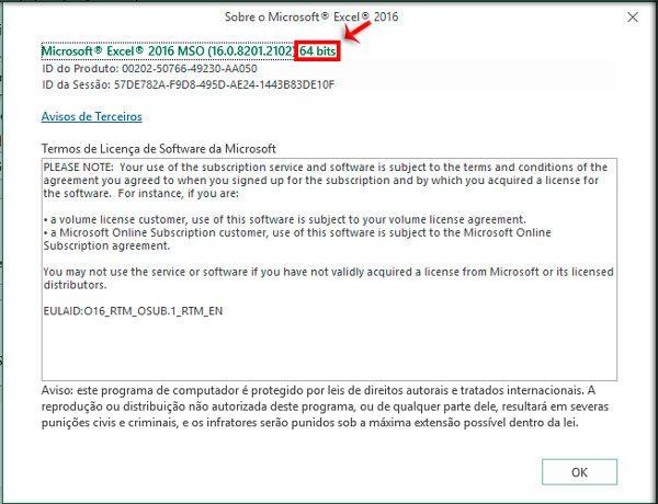 Verificar se a instalação é 32 bits ou 64 bits.