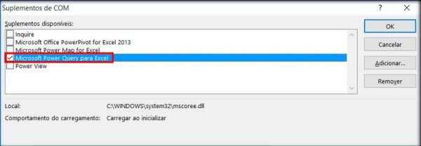 """Clique em """"Suplementos"""", selecione a opção """"Suplementos COM"""" e clique em """"Ir"""", na tela que abrir habilite a opção """"Microsoft Power Query para Excel"""""""