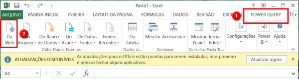 Power Query 2010/203: Importar da Web