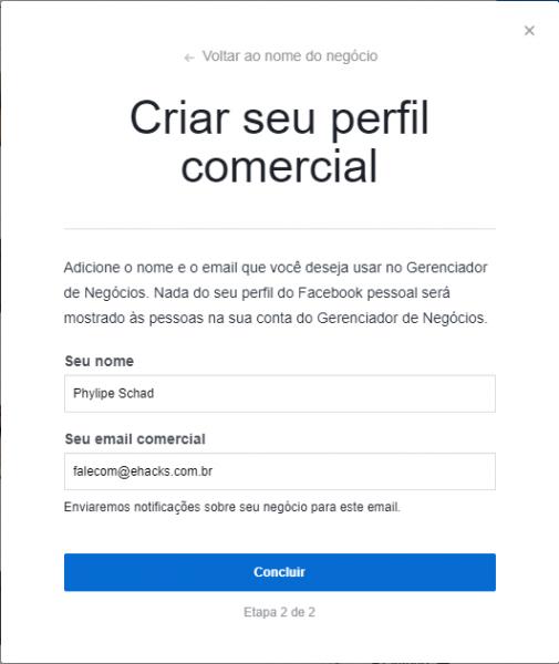Nome e E-mail - FB Business Manager