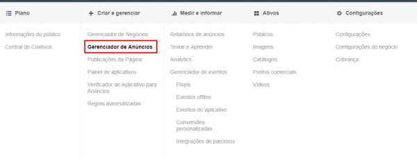 Gerenciador de Anúncios do Facebook Business Manager