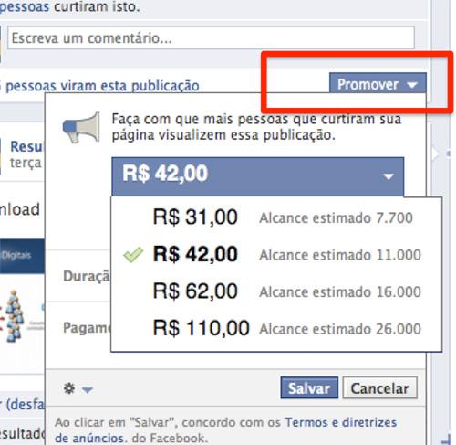 Botão Promover - FB