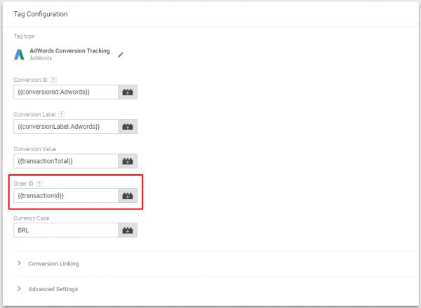 Configuração da Tag de Conversão do Adwords no Google Tag Manager