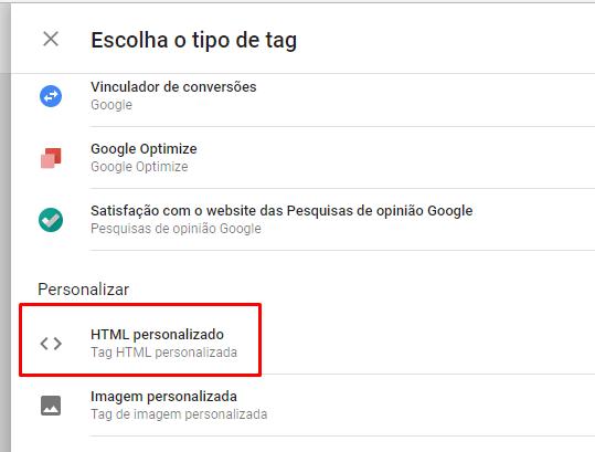 Tipo de Tag: HTML Personalizado