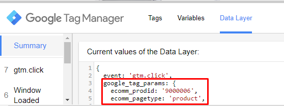Data Layer de Remarketing do Google: google_tag_params
