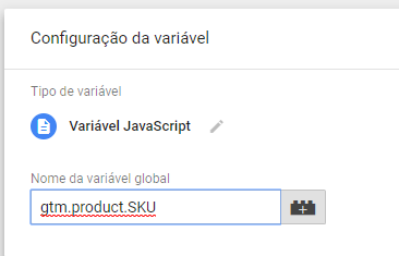 Variável: gtm.product.SKU