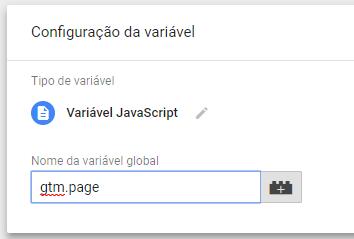 Variável JavaScript: gtm.page