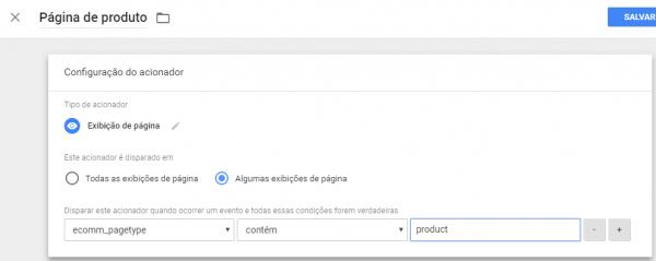 Acionador página do produto com variável