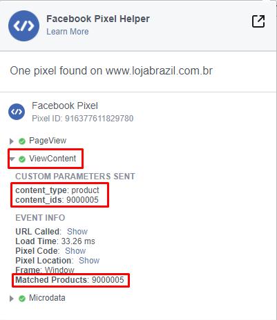 Facebook Pixel Helper: Página do Produto