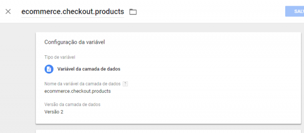 Variável: ecommerce.checkout.products