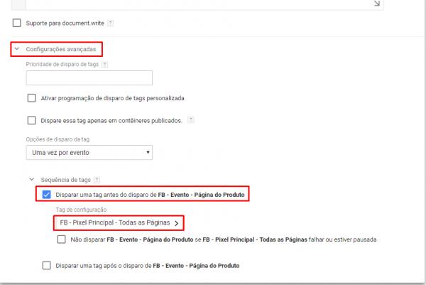 Configurações Avançadas: Tag evento página produto
