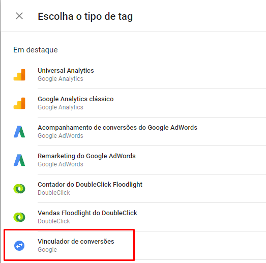 Tipo de Tag: Conversion Linker